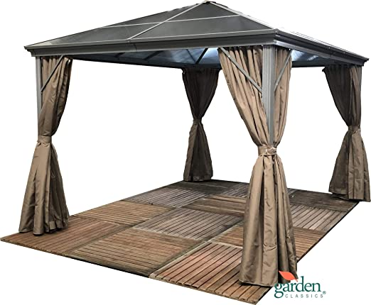 Cenador de jardín Swanbourne con techo de policarbonato ahumado resistente, de 3, 6 x 3 metros, con mosquiteras laterales, adecuado para jacuzzis: Amazon.es: Jardín