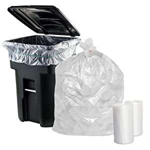 APQ Pack of 50 Garbage Can Liners 43 x 48 Ultra Thin Natural Trash Bags 43x48 Thickness 0.47 Mil 56 Gallon Extra Durable Garbage Bin Liners for Office Bedroom Kitchen Cans, Wholesale Price