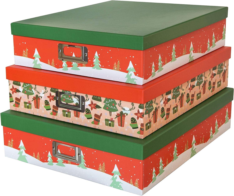 SLPR Cajas de cartón Decorativas para almacenaje de Navidad (Juego de 3, árboles Festivos) | Cajas de Regalo de anidamiento con Tapa para decoración de Envoltorio de Regalo de año Nuevo