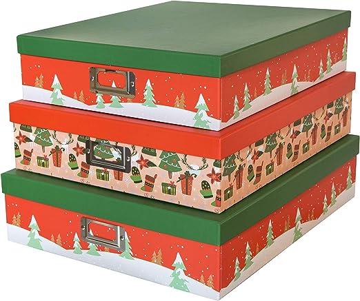 SLPR Cajas de cartón Decorativas para almacenaje de Navidad (Juego de 3, árboles Festivos)   Cajas de Regalo de anidamiento con Tapa para decoración de Envoltorio de Regalo de año Nuevo: Amazon.es: