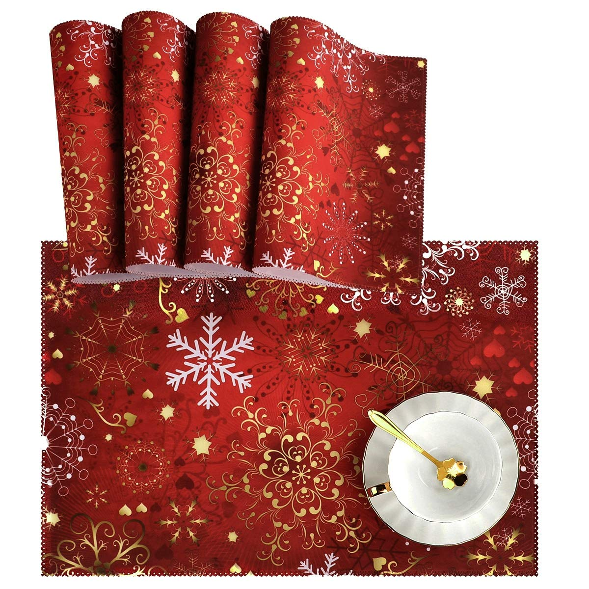 """Naanle Christmas Holiday Placemats Set of 4, Christmas Red Gold Snowflake Non Slip Heat-Resistant Washable Table Place Mats for Kitchen Dining Table Home Decoration, 12"""" x 18"""""""