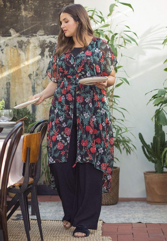 Ellos Womens Plus Size Sheer Empire-Waist Tunic