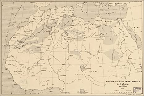 Amazon.com: 24x36 Poster; Map Of Trade Routes Sahara Desert 1890 In ...