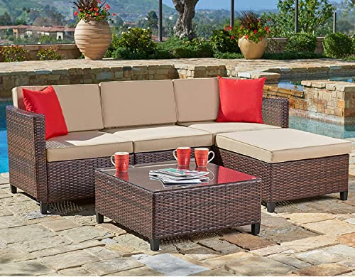 SUNCROWN Outdoor Sectional Sofa 5-Piece Set All-Weather Brown Checkered Wicker Furniture