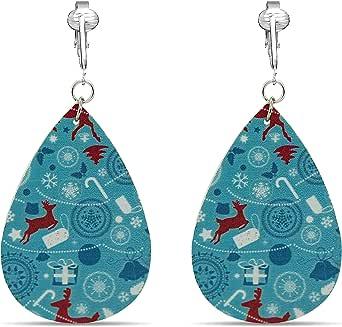 Aloha Earrings Christmas Clip-on Earrings for Women- Silver-tone Snow-flake, Red Santa, Green Elf, Tree