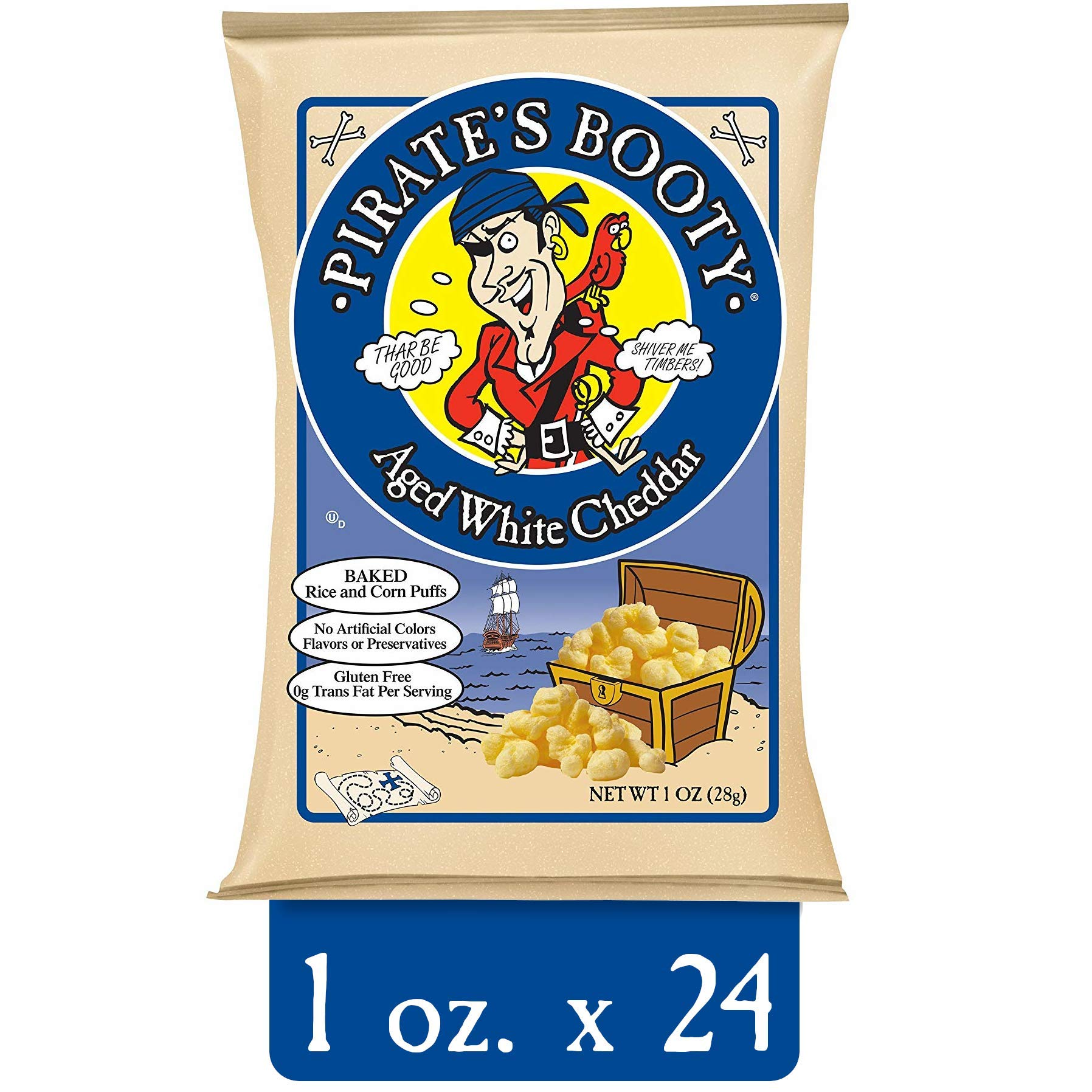 Pirate's Booty Snack Puffs, Aged White Cheddar, 1 Ounce (Pack of 24) by Krave Jerky