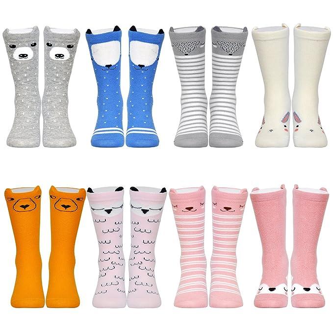 1605bdbd9 Epeius Unisex Baby Girls Boys Knee High Stockings Infant Non-Slid Cartoon  Animal Socks for