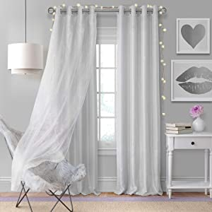 """Elrene Home Fashions Aurora Solid Faux Silk with Sheer Sparkle Overlay Room Darkening Window Curtain Panel, 52"""" W x 95"""" L (1, Pearl Gray"""