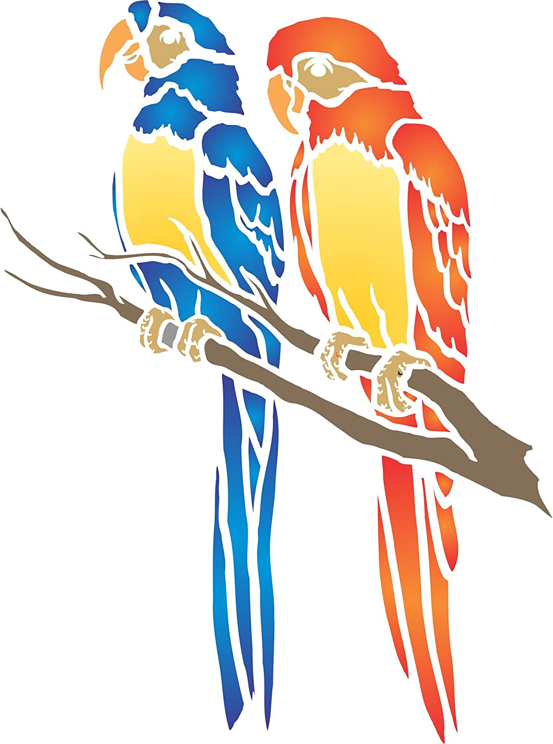 Parrot Stencil, 10.5 x 14 inch (M) - Animal Wildlife Macaw Bird Stencils for Painting Template