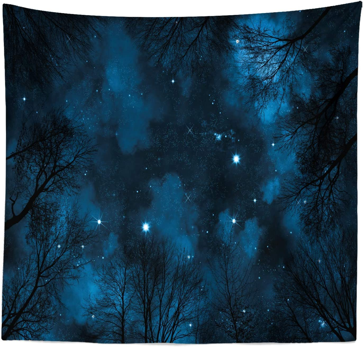 """Lunarable Night Sky Tapestry Queen Size, Spooky View Through Forest Branches Trees Foggy Sky with Stars, Wall Hanging Bedspread Bed Cover Wall Decor, 88"""" X 88"""", Petrol Blue"""
