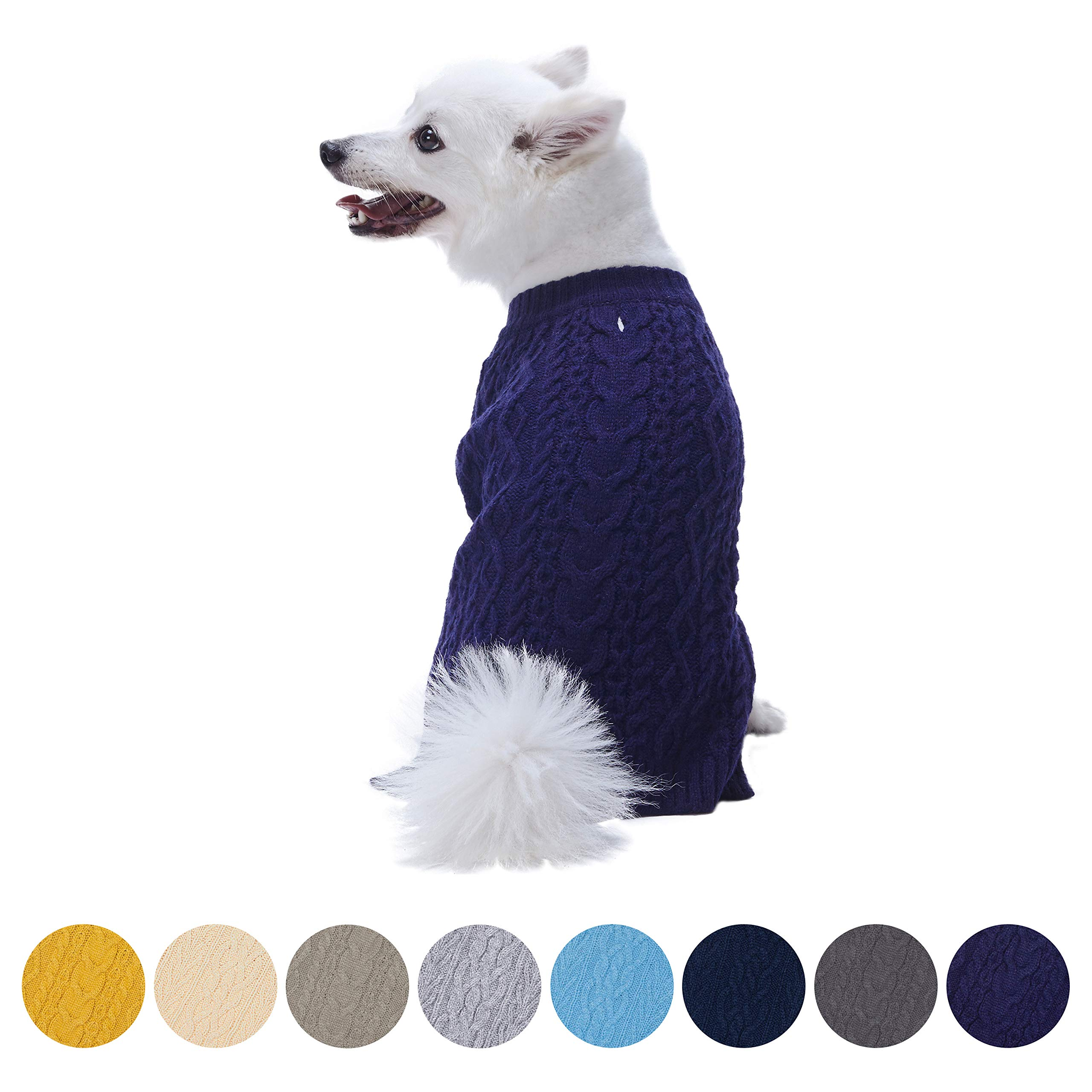Blueberry Pet 16 Colors Classic Wool Blend Cable Knit Pullover Dog Sweater in Midnight Blue, Back Length 20'', Pack of 1 Clothes for Dogs