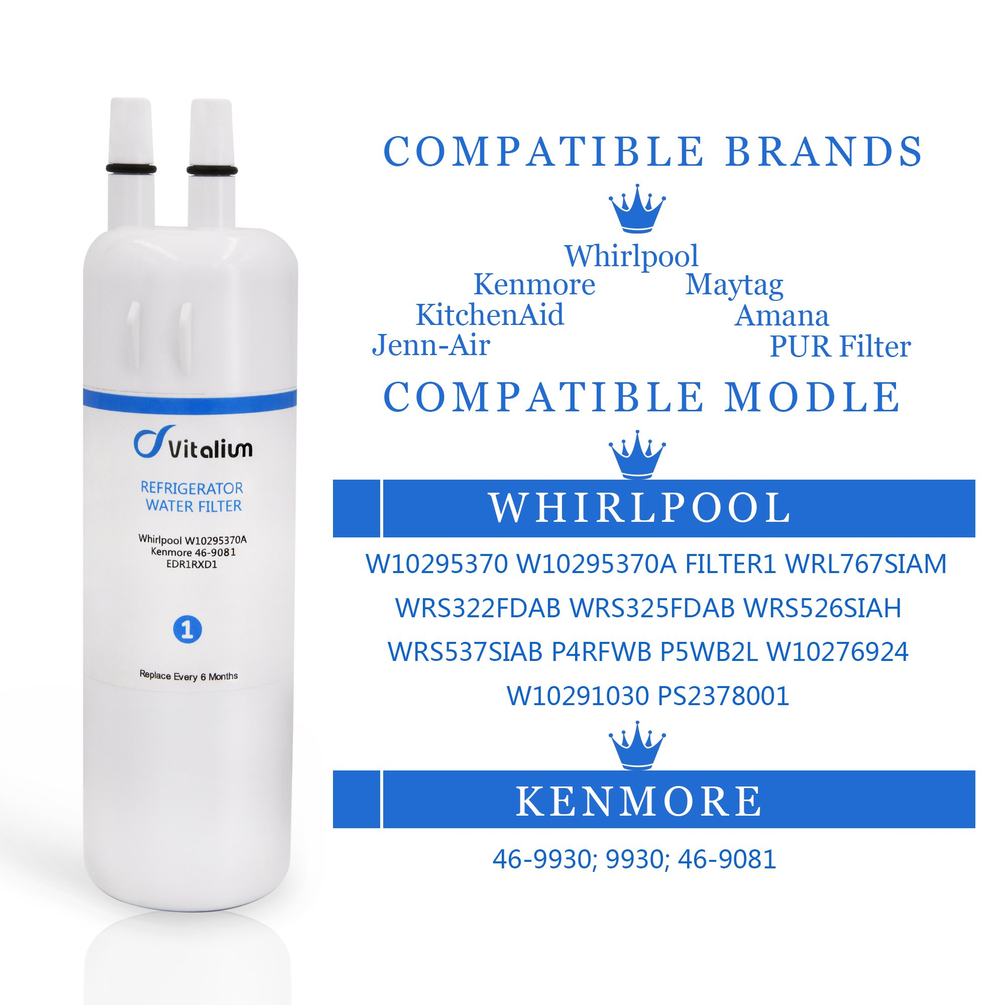 W10295370 W10295370A Whirlpool Refrigerator Water Filter 1, EDR1RXD1, Kenmore 46-9930, Kenmore 46-9081(3 PACK) by Vitaliums (Image #4)