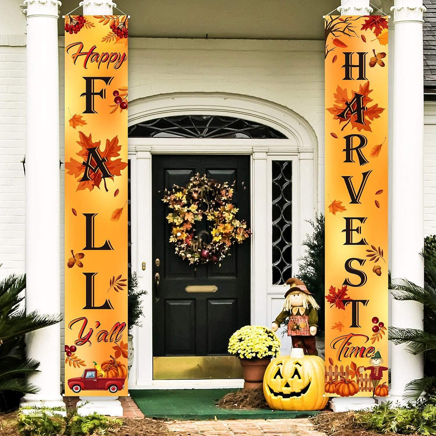 """Holite Fall Harvest Hanging Banner Porch Sign Thanksgiving Party Decorations 71""""x12"""" Autumn Pumpkin Maple Leaf Backdrop Flag Welcome Banner for Home Yard Indoor Outdoor Wall"""