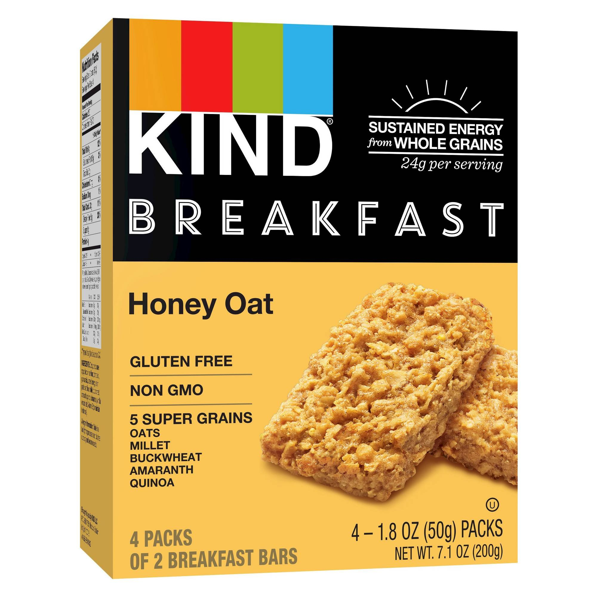 Kind Healthy Grains Honey Oat Breakfast Bars 1.8ozx4bars, total 7.1oz