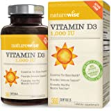 NatureWise Vitamin D3 1,000 IU for Healthy Muscle Function, Bone Health and Immune Support, Non-GMO, Gluten-Free in Cold-Pressed Organic Olive Oil,1-year supply, 360 count