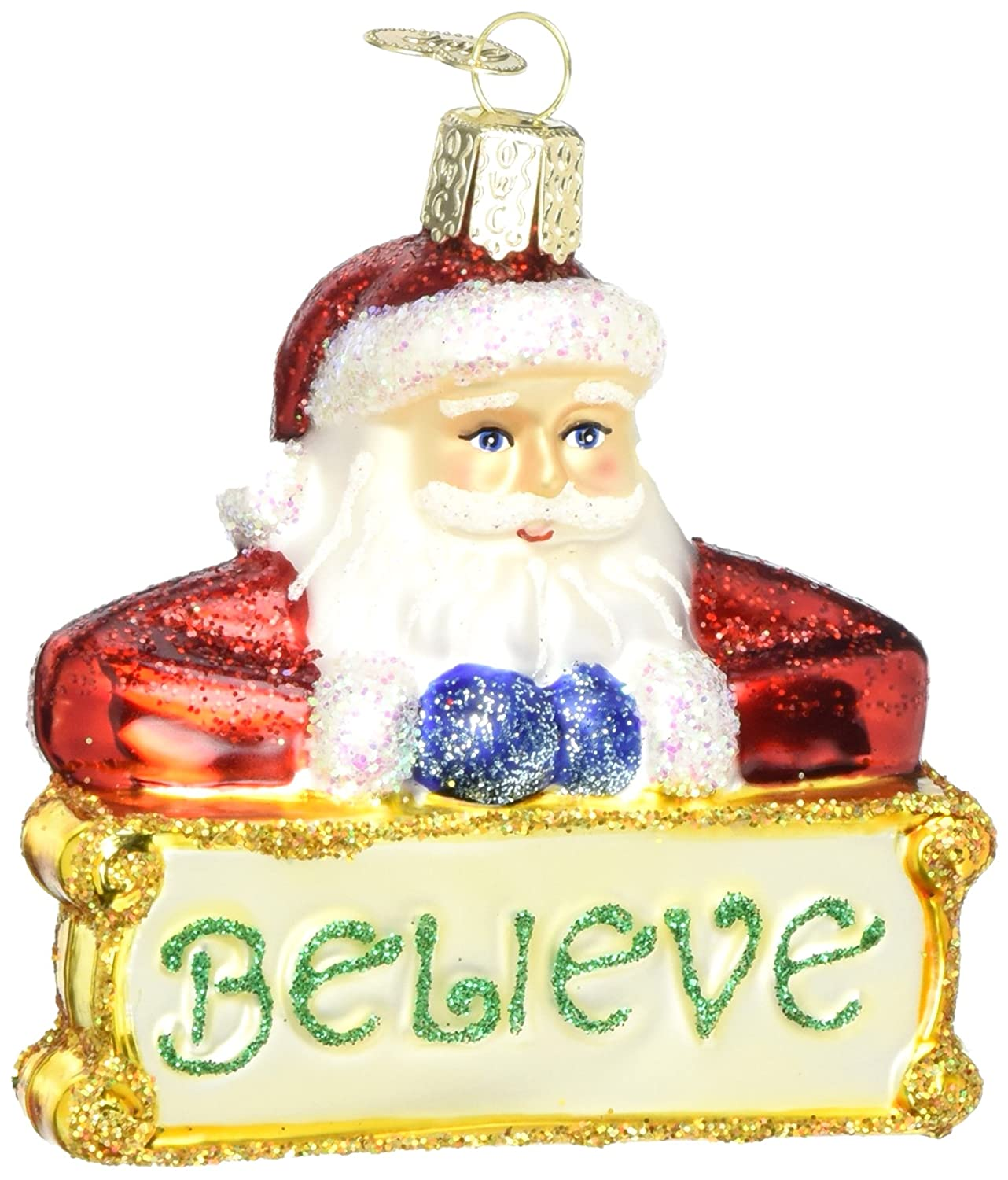 Old World Christmas Assortment Glass Blown Ornaments for Christmas Tree Believe Santa