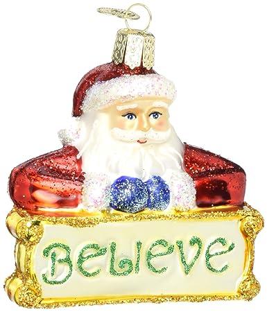 Amazon.com: Old World Christmas Believe Santa Glass Blown Ornament ...