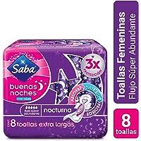 Saba Buenas Noches con Alas; Toallas Femeninas Nocturnas XL, Flujo Súper Abundante; 8 Toallas