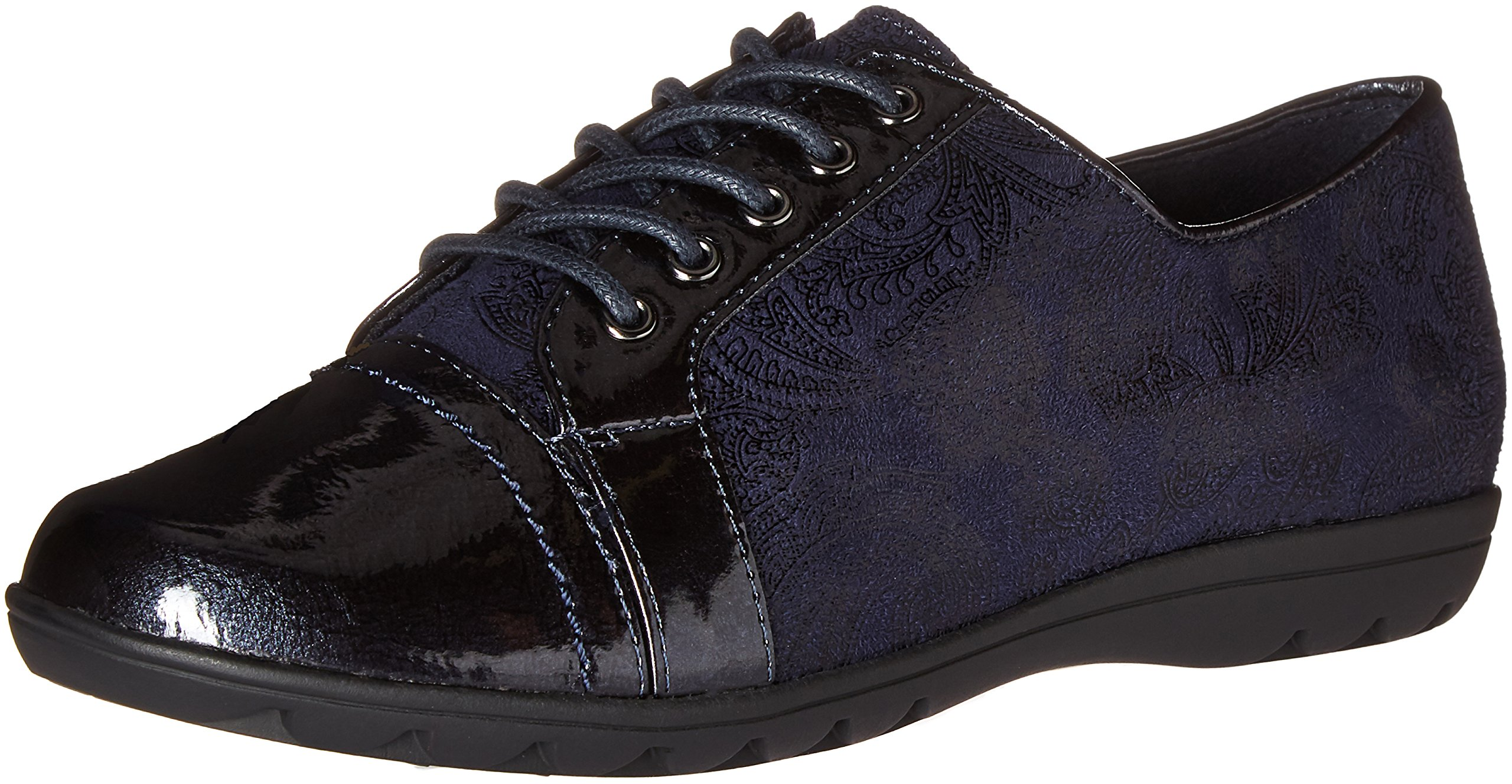 Soft Style by Hush Puppies Women's Valda Oxford, Navy Paisley Faux Suede/Pearlized Patent, 7 W US