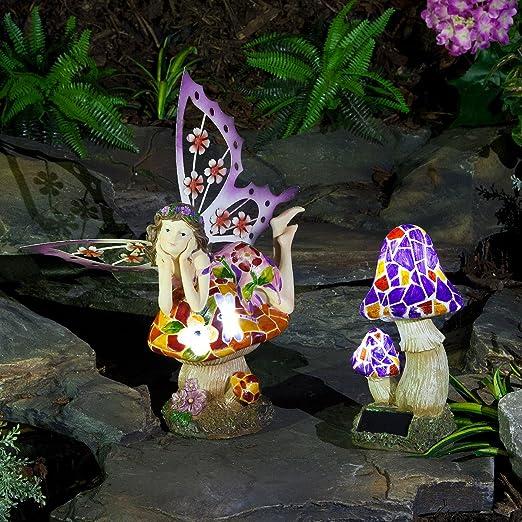Festive Lights - Figuras Decorativas de Hada y Seta de jardín con energía Solar para Exteriores con Luces LED Blancas: Amazon.es: Hogar