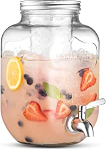 1 Gallon Glass Beverage Dispenser with 18/8 Stainless Steel Spigot - 100%Leak Proof - Wide Mouth Easy Filling - Drink Dispenser with Ice Cylinder Keeps Beverage Cold For Outdoor, Parties and Daily Use