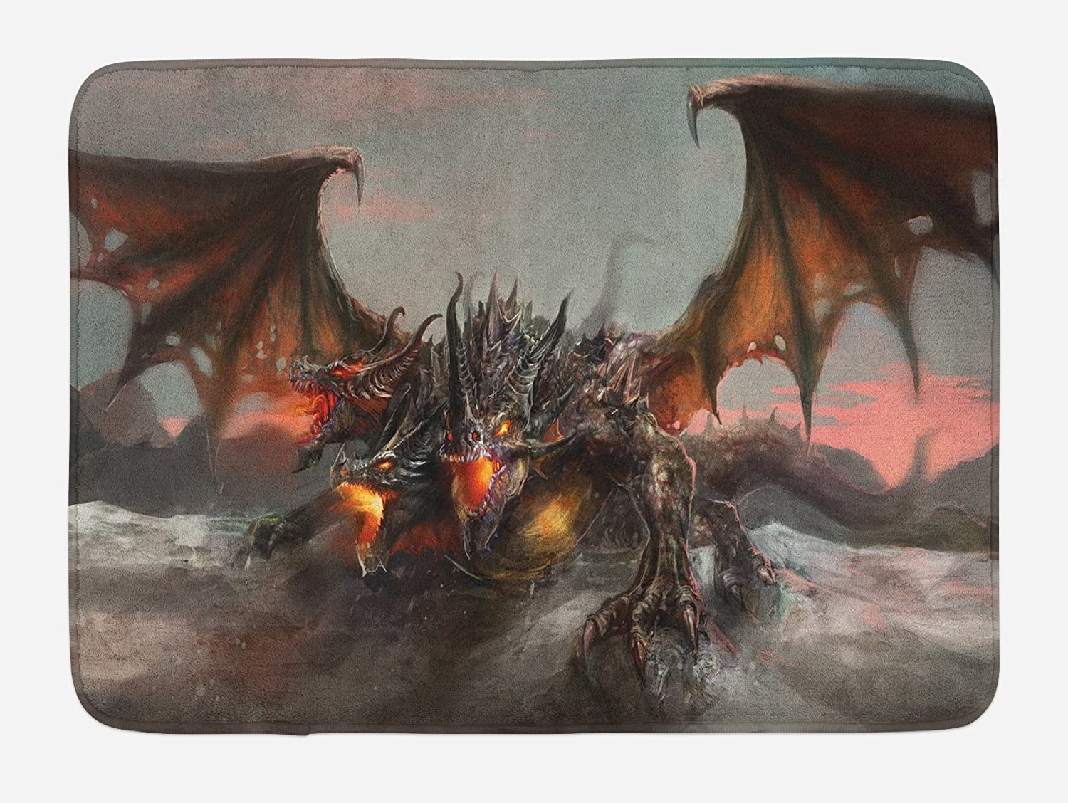 "Ambesonne Fantasy World Bath Mat, Illustration of 3 Headed Fire Breathing Dragon Large Monster Gothic Theme, Plush Bathroom Decor Mat with Non Slip Backing, 29.5"" X 17.5"", Brown Grey"