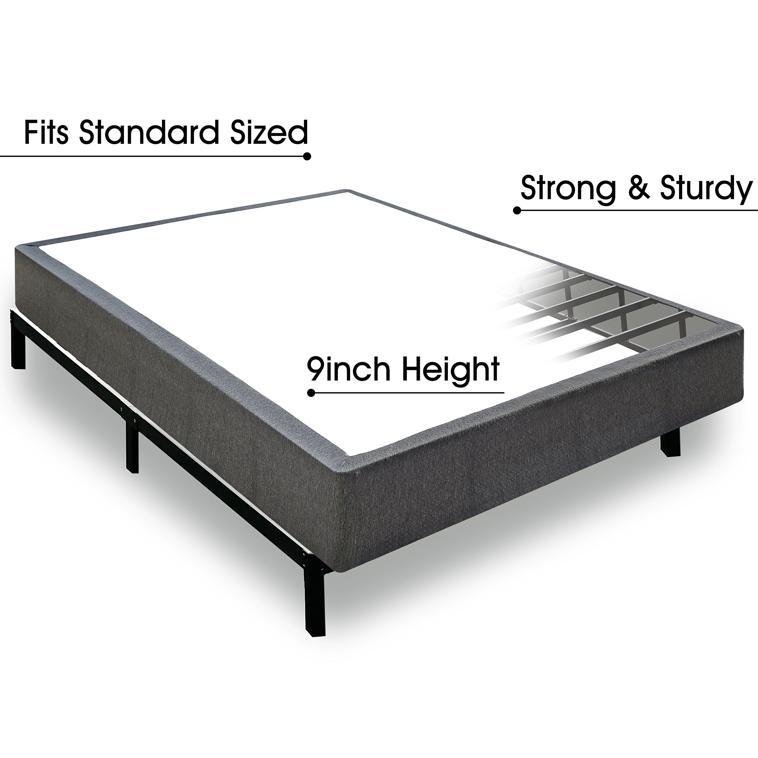 cheaper b2c2c deb88 TATAGO 3000lbs Max Weight Capacity 9 Inch Heavy Duty Metal Box Spring  Mattress Foundation, Extra-Strong Support & Non-Slip, No Noise, Easy  Assembly