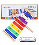 Kids Xylophone Wooden Musical Toys - Smarkids Prime 8 Note Metal Keys Glockenspiel and Harmonica Instruments Set with Song Sheet for Toddler, Children, Boys and Girls with Xylophone Mallets