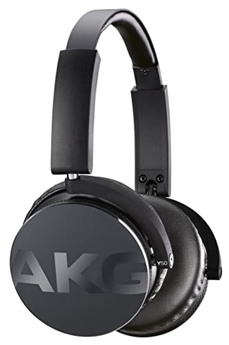 AKG Y50 Portable Foldable On-Ear Headphones Earphones with Detachable Cable and In-line Volume Remote/Microphone - Black