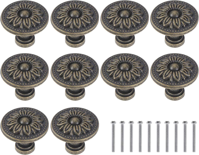 abcGoodefg 10PCS Antique Round Cabinet Knobs Bronze Vintage Drawer Knobs Brass Retro Flower Cupboard Pulls Handle for Furniture Kitchen Door Hardware (31MM)