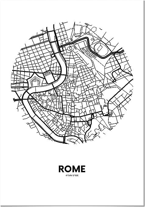 Panorama® Póster Mapa Círculo de Roma 50 x 70 cm - Impreso en Papel 250gr - Póster Pared - Cuadros Decoración Salón y Dormitorio - Póster Decorativos - Cuadros Modernos: Amazon.es: Hogar
