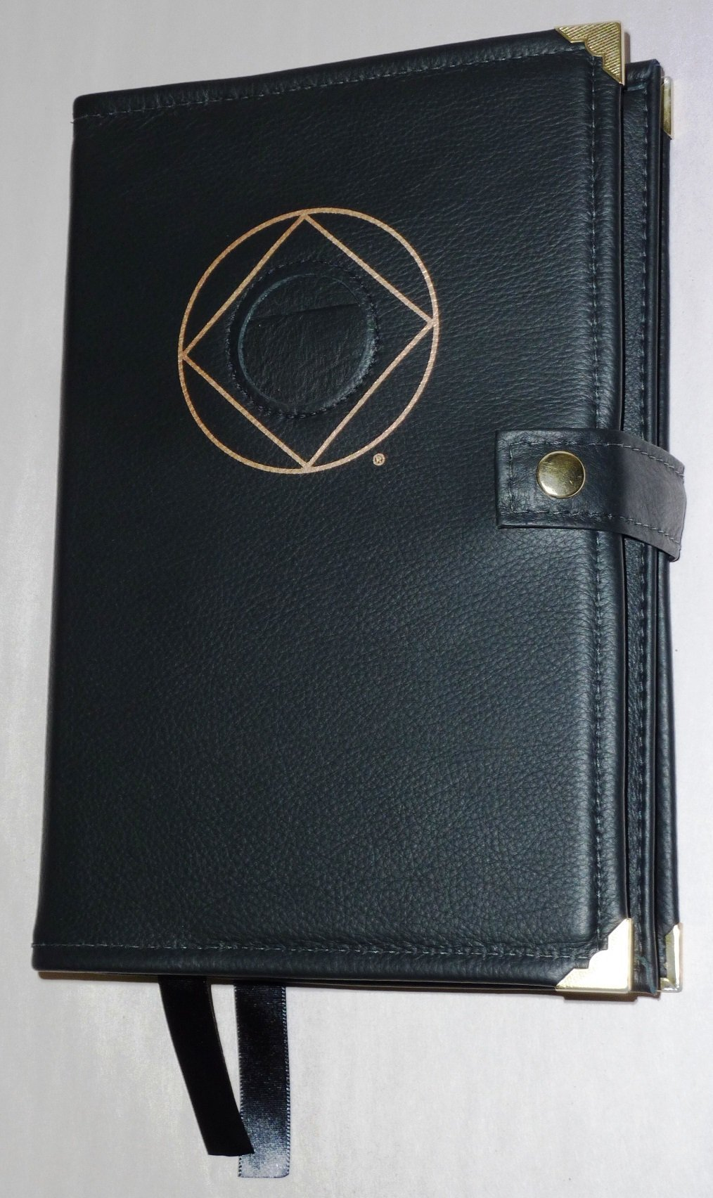 Black Leather Double NA Narcotics Anonymous Basic Text and It Works How and Why Book Cover Symbol and Medallion Holder