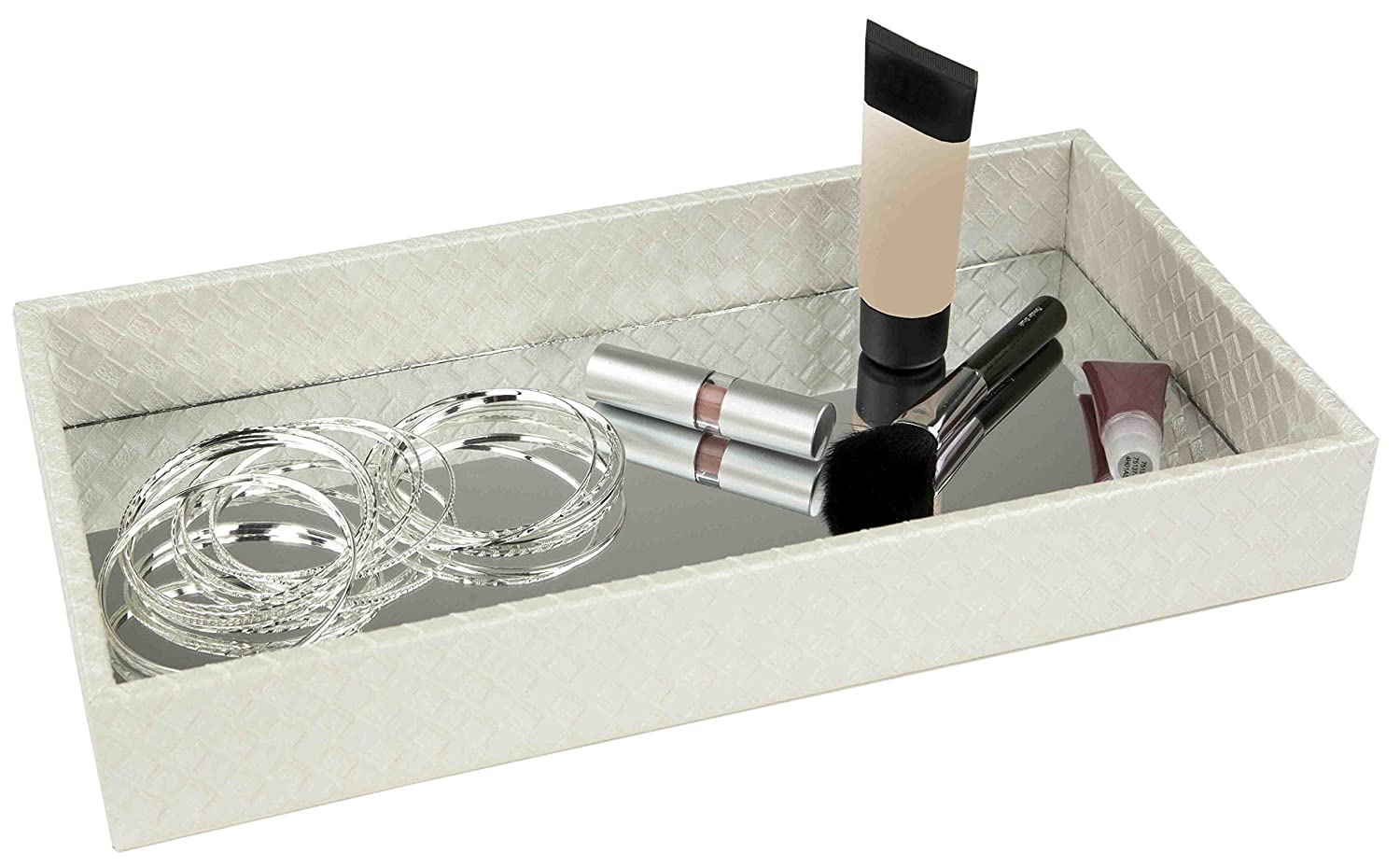 Home Basics Decorative Leather Bath Vanity Tray with Mirror, Black HDS Trading Corp ST49553