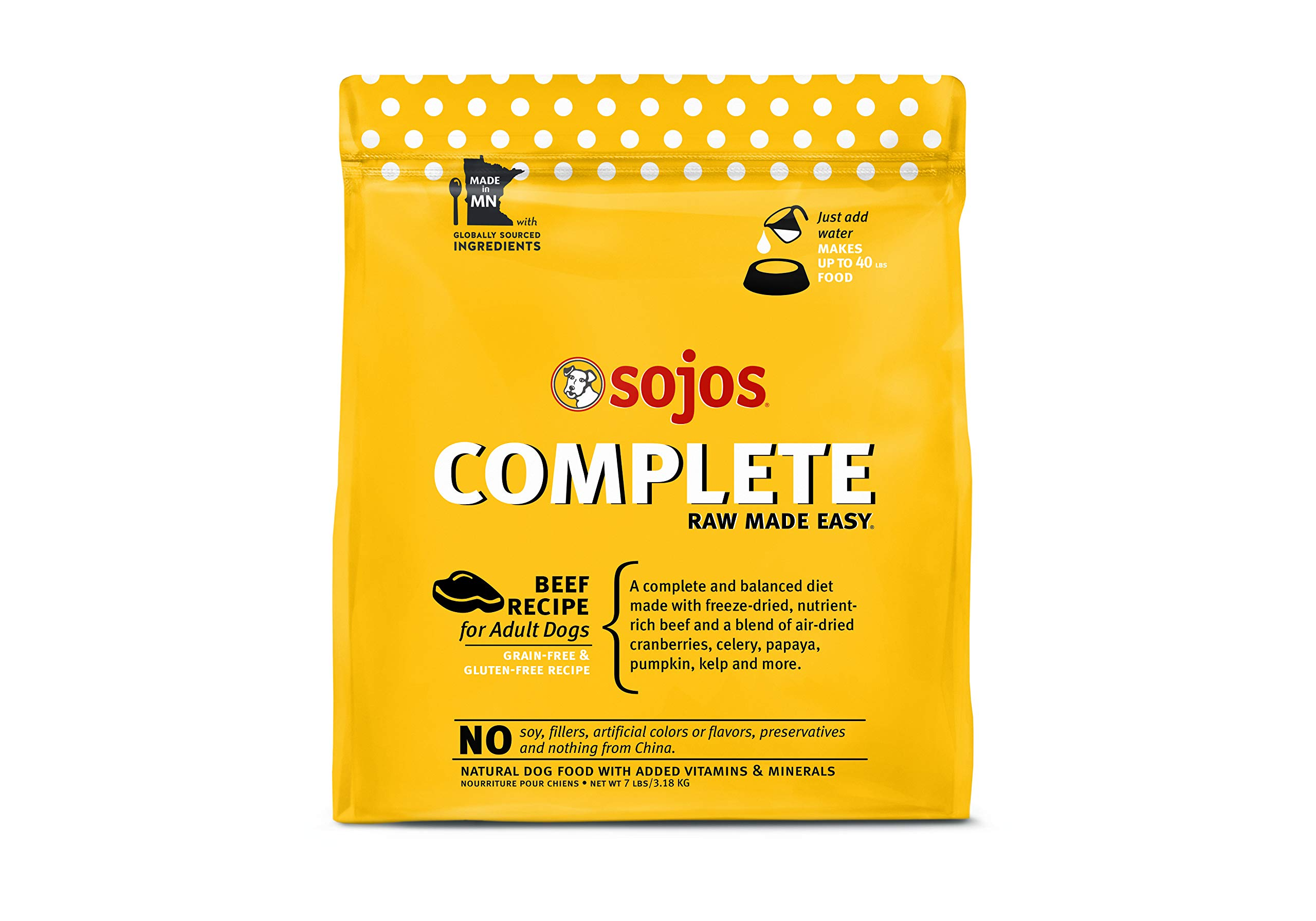 Sojos Beef Recipe Complete Adult Dog Food, 7 Lb