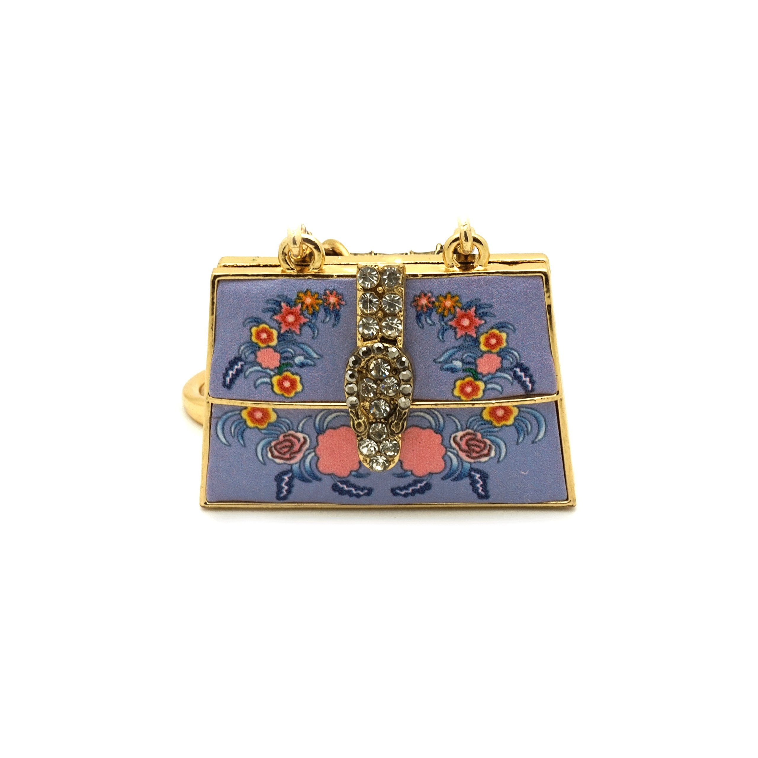 Teri's Boutique Elegant Flower Print 3D Bag Rhinestone Bag Purse Charm Keychain (Purple)
