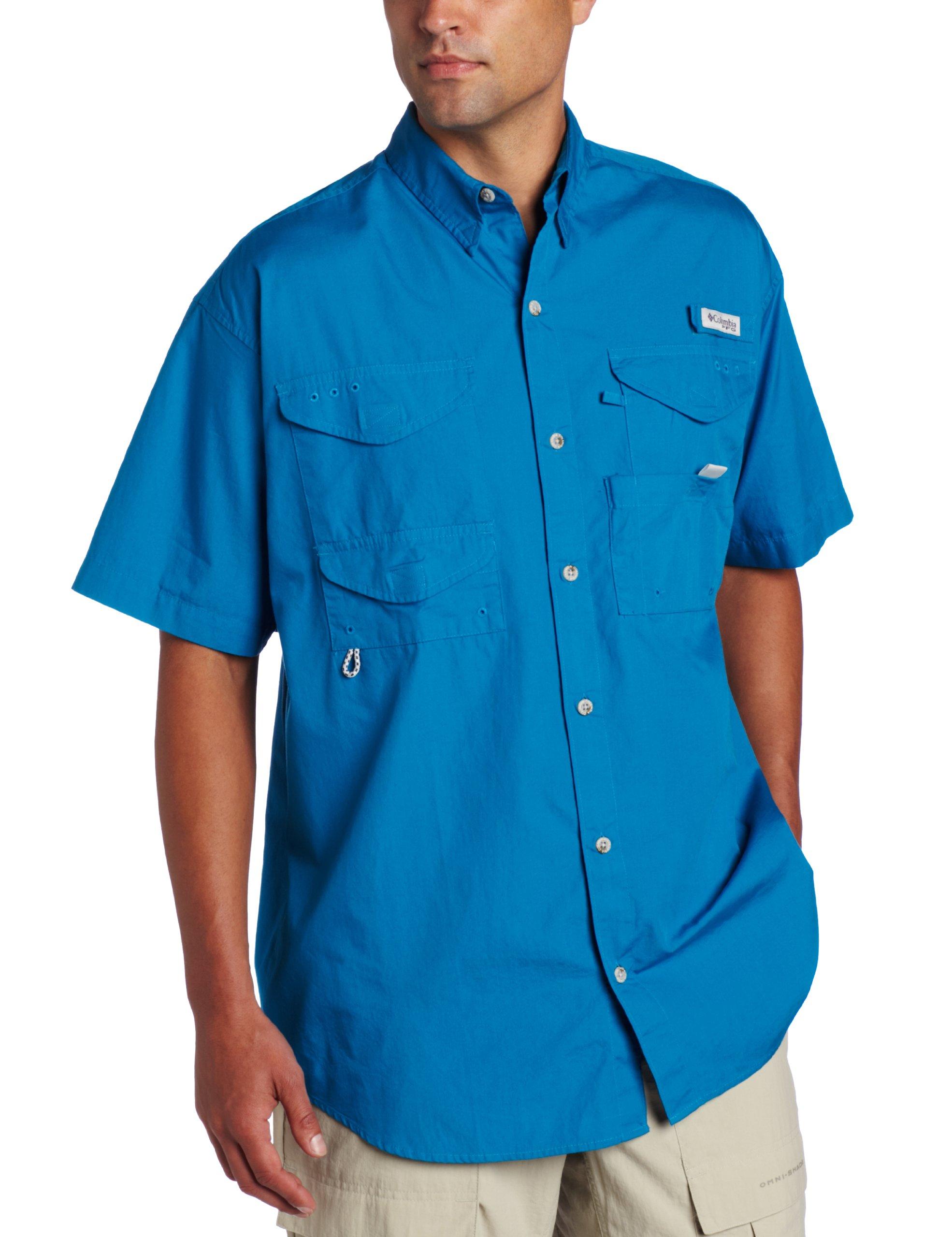 Columbia Men's Bonehead Short Sleeve Shirt, Ocean, Small