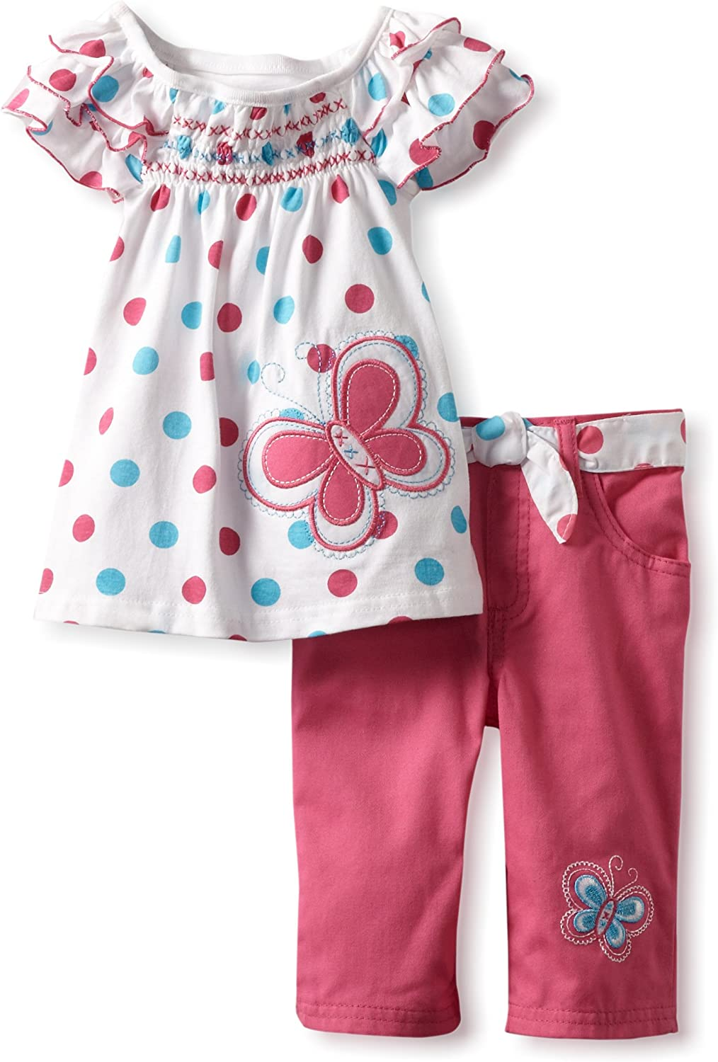 Young Hearts Little Girls 2 Piece Polka Dot Butterfly Pant Set