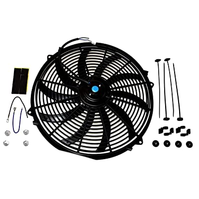 A-Team Performance 130031 Electric Radiator Cooling Fan Cooler Heavy Duty Wide Curved 10 S Blades 12V 3000 CFM Reversible Push or Pull with Mounting Kit Black 16 Inches: Automotive