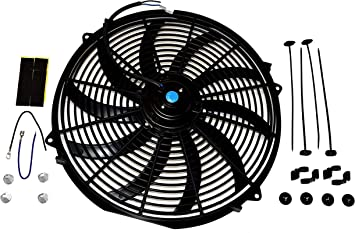 A-Team Performance 160061 16 High Performance Heavy Duty 12V Black Radiator Electric Wide Curved Cooling Fan Assembly Kit 8 Blade FAN 3000 CFM