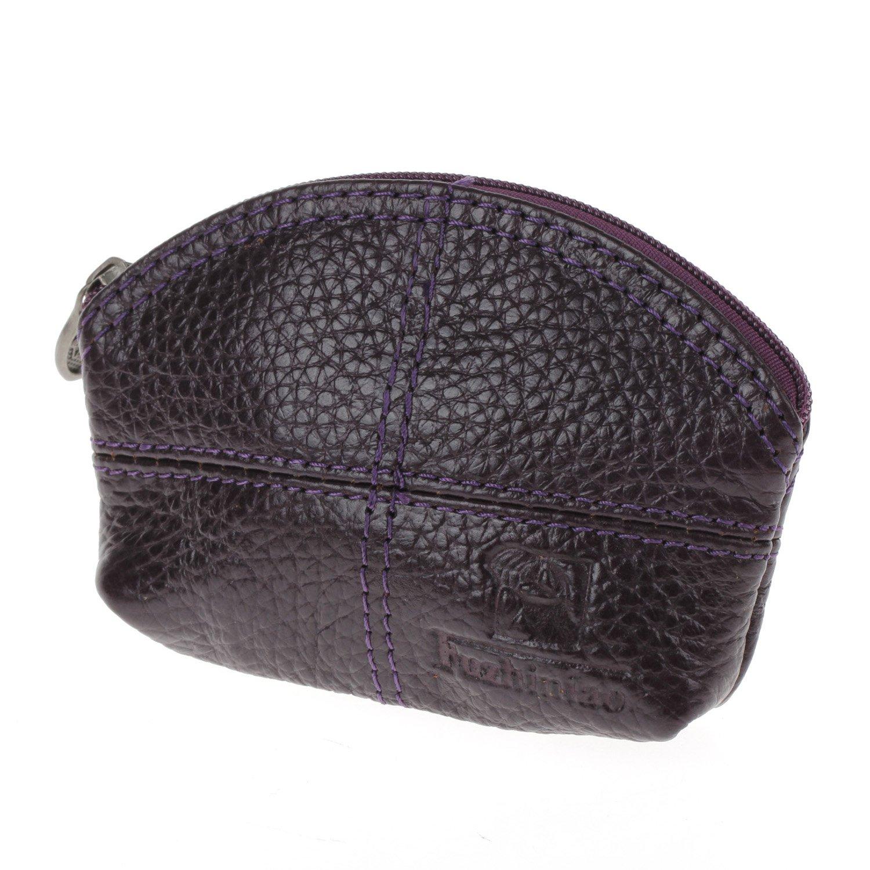 Women Genuine Leather Change Purse Mini Wallet Key Pouch Coin Bag Gift In Purple