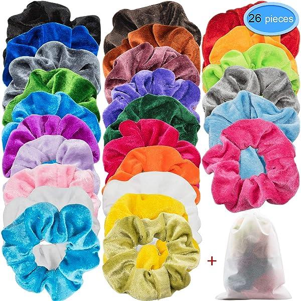 EAONE 26 Colors Hair Scrunchies Velvet Scrunchies Elastic Ties Hair Bands Scrunchy Ponytail Holder Headbands for Women Girls 26 Pieces