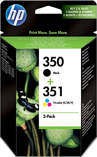 Hp Original 350 351 Combo Pack Inkjet Print Cartridges Black Tri Colour Bürobedarf Schreibwaren