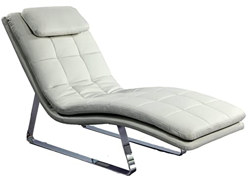 Chintaly Imports Corvette Chaise Lounge, White