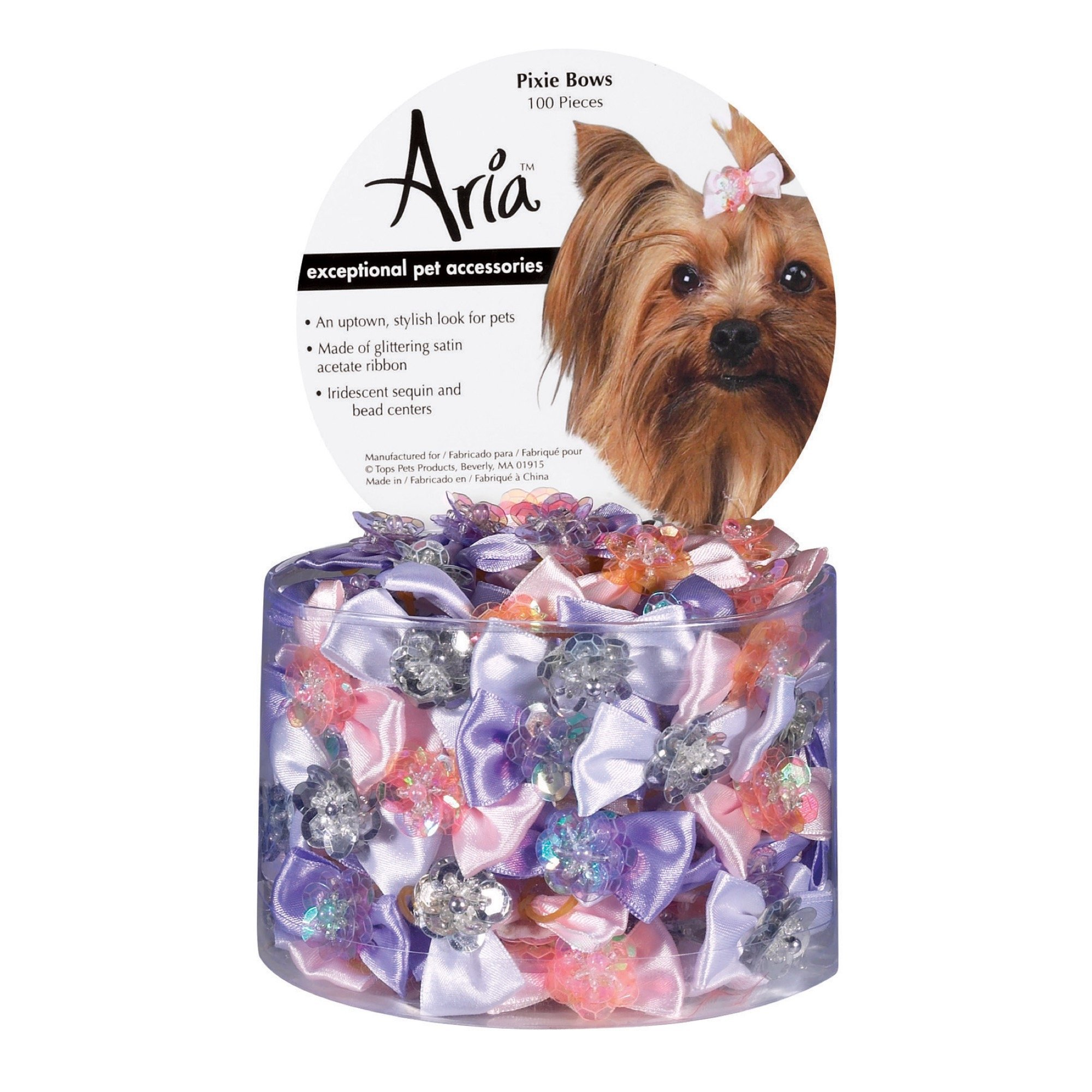 Aria Pixie Bows for Dogs, 100-Piece Canisters by Aria