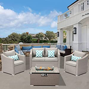 SUNBURY Outdoor 4-Piece Patio Furniture w Propane Fire Pit, Pearl Gray Rattan Conversation Set, 4 Blue Pillows w 32-inch Rectangle Wicker 40,000 BTU Fire Table w Glass Guard Fits 20 gal Tank Outside