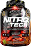 MuscleTech NitroTech Protein Powder Plus Muscle Builder, 100% Whey Protein with Whey Isolate, Milk Chocolate, 4 Pounds…