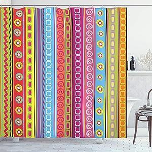 "Ambesonne Striped Shower Curtain, Colorful Retro Stripes Circles Boho Pattern 90's Style Rainbow Art Print, Cloth Fabric Bathroom Decor Set with Hooks, 75"" Long, Fuchsia Blue"