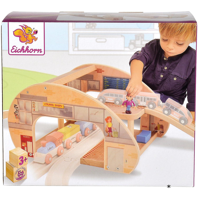 #0107 Großer 2-stöckiger Bahnhof für Eisenbahnen inklusive 2 Schienen • Holz Eisenbahn Brio IKEA kompatibel Kinder Spielzeug Set