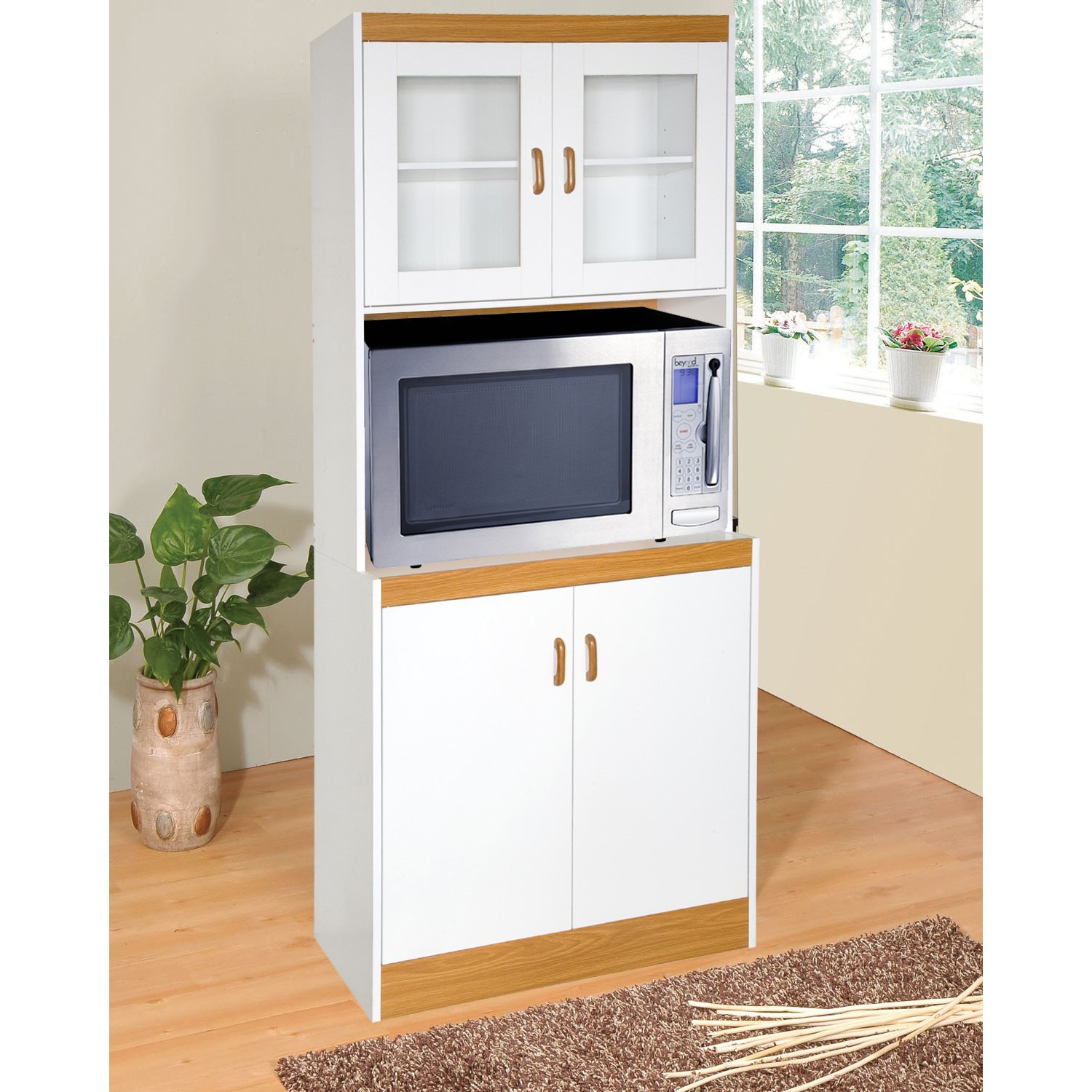 amazoncom home source industries 153brd tall kitchen microwave cart cabinets shelf and glass doors white with light wood trim kitchen islands - Cabinet With Glass Doors