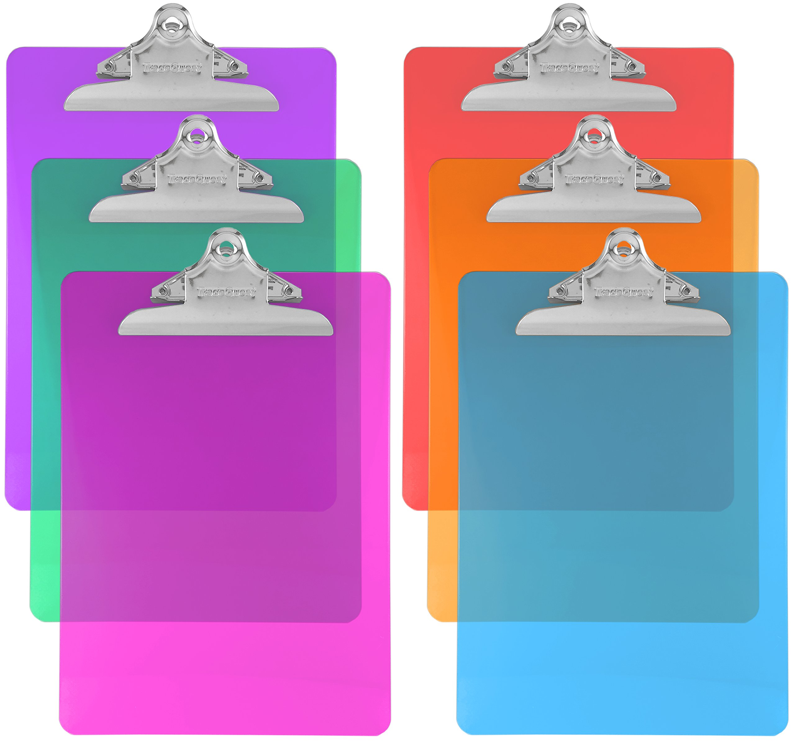 Trade Quest Plastic Clipboard Transparent Color Letter Size Standard Clip (Pack of 6) (Assorted)